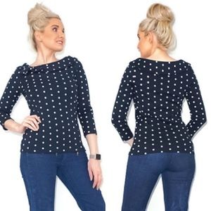 Black and White Polka Dot Boat Neck Shirt